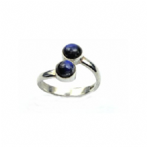 Double round Rainbow Moonstone Ring Silver